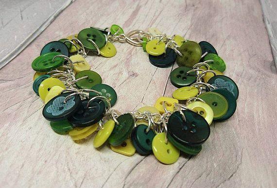 Mixed greens button bracelet by FolbarJewellery on Etsy