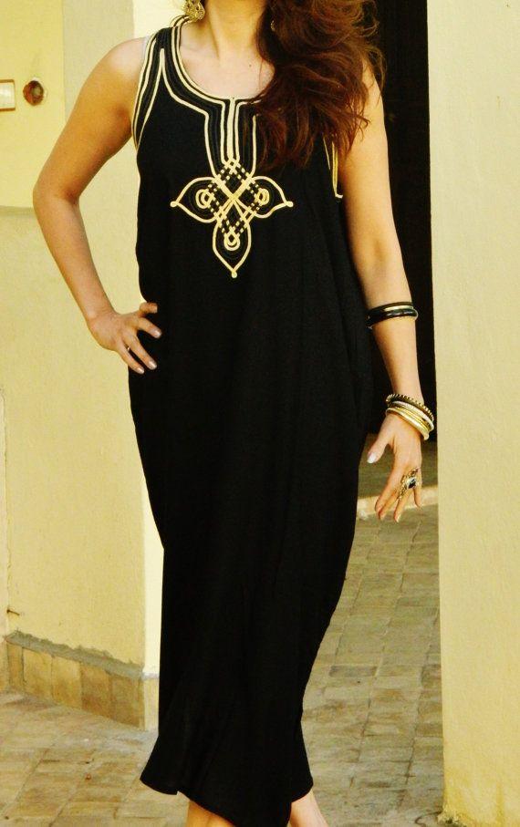 Non-manchon noir Caftan Kaftan Resort Agadir-caftan, caftan, resortwear, vêtements de détente, plage couvrez-vous, cadeau de fête des mères, cadeaux d'anniversaire