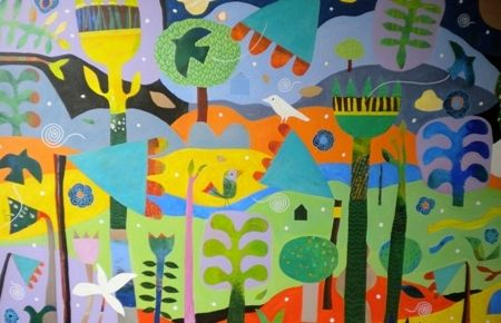 Mark  Warren  Pavilion of Dreams - 2013   Mixed media on canvas   170 x 110 cm