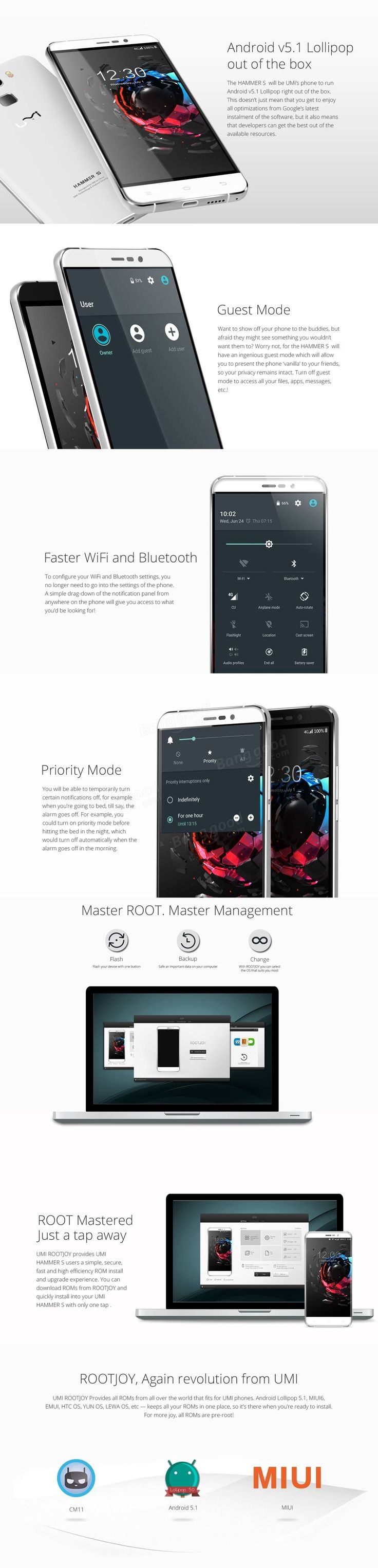Only US$126.99 , buy best UMI Hammer S 5.5-inch 2GB RAM MTK6735 Quad Core 64Bit 4G Smartphone sale online store at wholesale price.UK/USA direct.