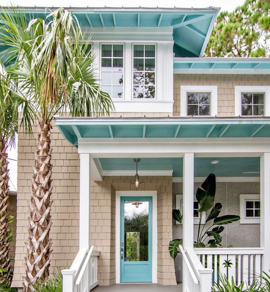 10 Unexpected Colors For Home Exteriors Sand & Aqua  This combo is a natural choice if you want to cultivate a coastal vibe. The aqua front door is bold, while the underside of the porch, roof and the roof overhangs suggest blue sky. White trim keeps the overall look neat and crisp.