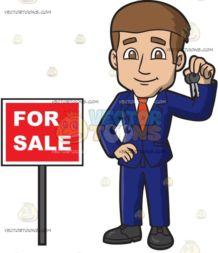 A Charming Male Real Estate Agent At An Open House:   A man with brown hair wearing a dark blue suit white dress shirt orange necktie black shoes smiles while holding two sets of keys as he stands beside a red for sale sign