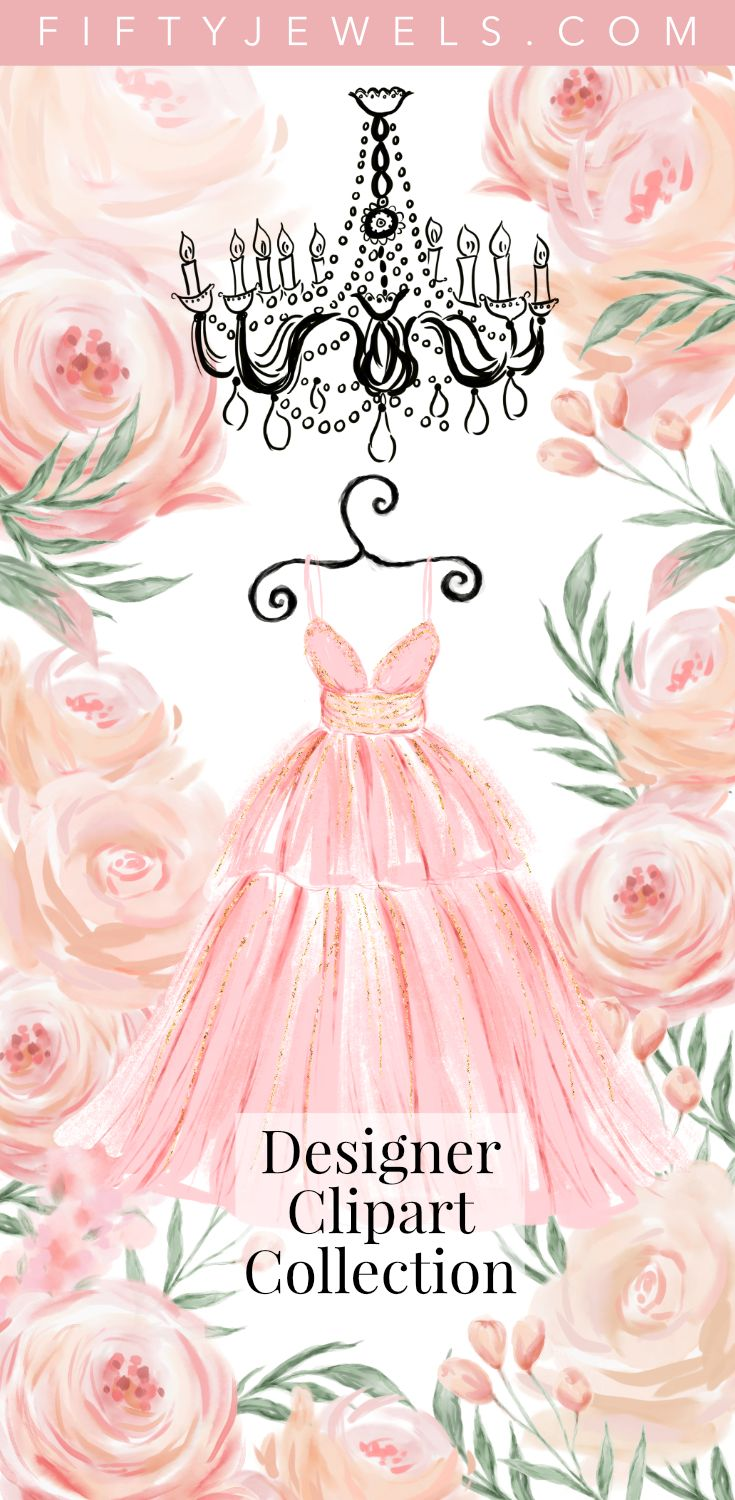 Watercolor Fashion Clipart, Wedding Clipart - Gorgeous Pinks & Glittery Gold come together to create this stunning collection perfect for your next creative project! Click to see all the element + the matching designer papers. #watercolor #wedding #fashion #flowers #clipart