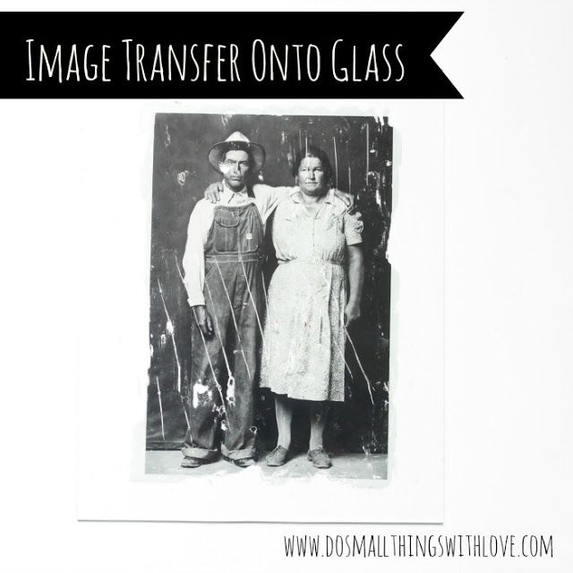 photo transfer tutorial---How to transfer photo onto glass.......http://www.dosmallthingswithlove.com/2013/08/photo-transfer-onto-glass.html