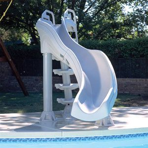 Fast action swimming pool slide is the extreme water slide for in-ground swimming pools. Double turn swimming pool slide stands over 6 ft tall. Swimming pool slides and sliding boards at In The Swim.