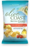 OLIVE COAST™ Sicilian Style Tomato Asiago Kettle Cooked Potato Chips are cooked in 100% olive oil. Made with all-natural ingredients, you'll taste the delicious and authentic flavor of the Mediterranean in every bite.
