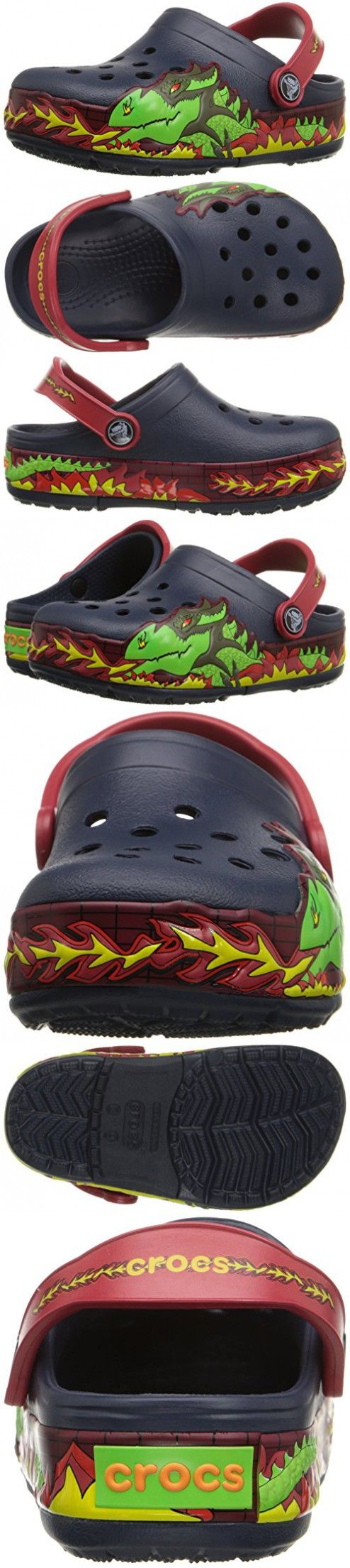 Crocs Kids' CrocsLights Fire Dragon Light-Up Clog  (Infant/Toddler/Little Kid/Big Kid),Navy,1 M US Little Kid