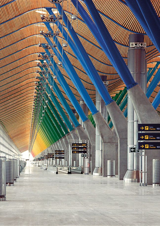 Madrid, Spain airport - a marvel in engineering and architectural design. The entire color spectrum is captured from one end to the other. It is breathtaking!