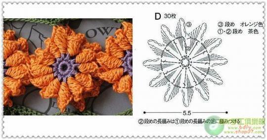 Nuddos.com - Artesanos y Creadores -: Crochet Collars, Hook, Crochet Flower, Rose Flower, وردات كروشيه, Crochet Patterns, Flower Chart, Crochet Charts, Crochet Clothing