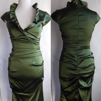 Xscape Julia Chen Pear Ruffle Satin Ruched Dress - 80% Off Retail - Tradesy