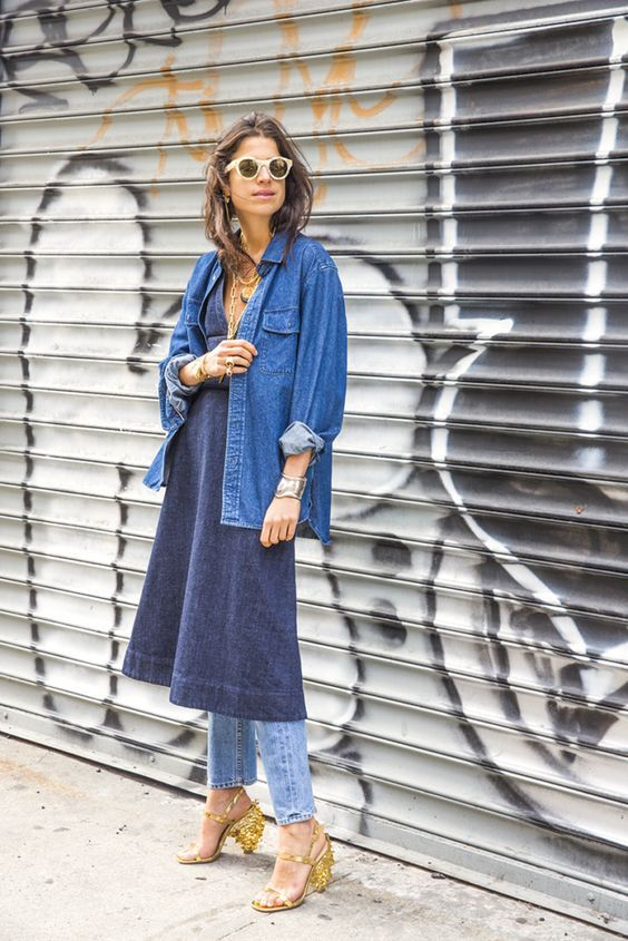 As seen on the catwalks of Louis Vuitton, Tibi and Erdem to name a few, trousers over dresses is the trend that's everywhere right now. And while matchy-matchy might not be for everyone, subbing in jeans for trousers is the wearable way to work the look.