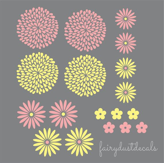 Best Flowers Leaf Wall Decals Images On Pinterest Flower - Yellow flower wall decals