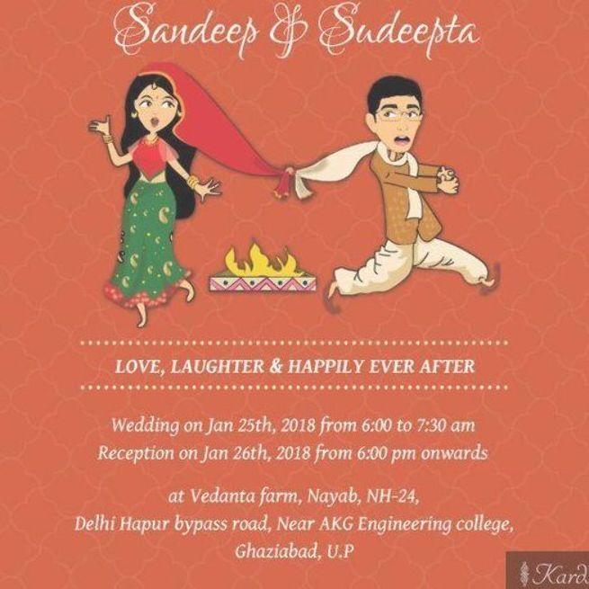 Indian Wedding Invitation Ideas Indian Wedding Quotes In 2020 Funny Wedding Invitations Indian Wedding Invitation Cards Cartoon Wedding Invitations