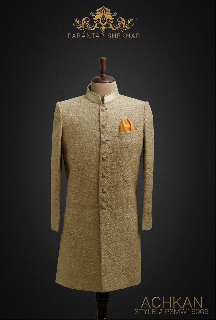 MENSWEAR: Gravel Classy Hand-Uncut Thread work Silk Achkan, Crystal Swarovski Metallic Buttons at Straight front Placket and Golden work at Collar.  Complete Outfit: Achkan, White Pyjama Pants & Silk Pocket Square. For more info, catch us on  www.parantapshekhar.com