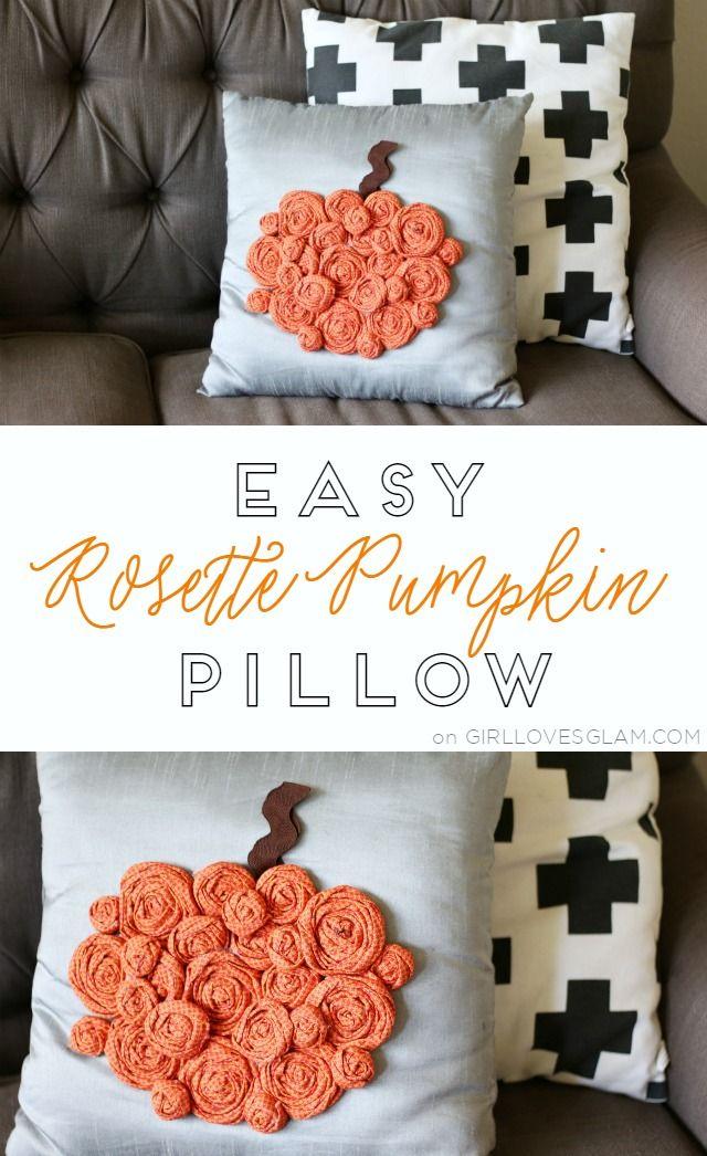 Easy Rosette Pumpkin Pillow Tutorial on www.girllovesglam.com