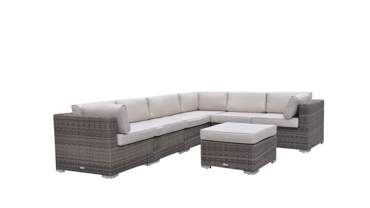 Radeway 7 pc Modern Sectional Outdoor Patio Furniture Sets Backyard Wicker Rattan Sofa Set W/ Covers, Brown. The patio furniture sets include free gift of seven protective frame covers and three pillows ($300 VALUE). Truffle and champagne two-toned color resin rattan weave. Cushion color is sand, removable cushions covers for easy cleaning, simple to clean. Includes 3 corner sections, 3 mid sections and ottoman/coffee table (tempered glass, extra cushion-included). Strong powder-coated...