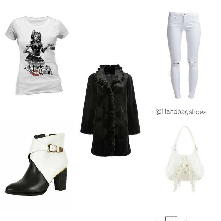 Have fun with affordable looks.  Black twist front detailed faux fur £60.00 from Roman Originals.  Harley Quinn - Batman Arkham Knight Ladies T-Shirt £18.00 from Look Again.  White ripped knee skinny jeans £30.00 from Tesco's. White & black metal buckle ankle boots £14.00 from Ebay. White fringed shoulder bag £12.50 by Red Herring.