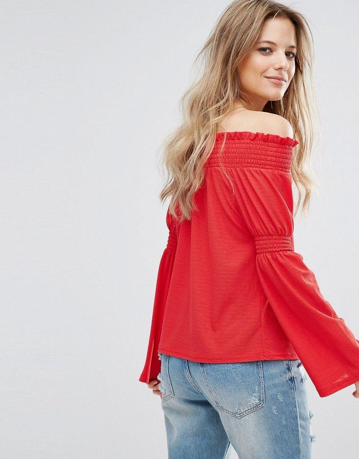 New Look Flute Sleeve Bardot Top - Red