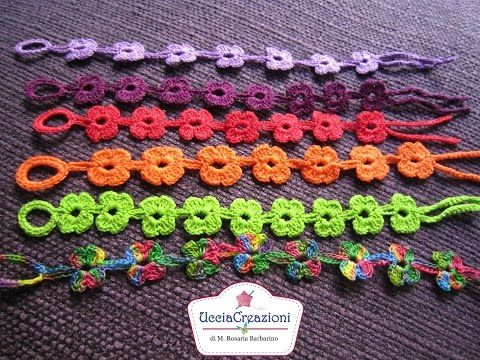 Tutorial 6. * Bracciali Fiore * Simil - Cruciani . How to Flower Crochet Bracelets - YouTube