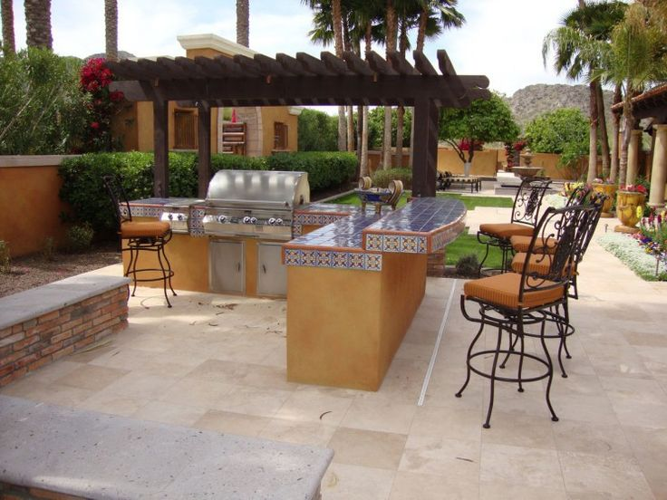 Exterior : Stylish Outdoor Kitchen Designs And Decor Ideas With Exotic  Black Wooden Pergola Mixed With