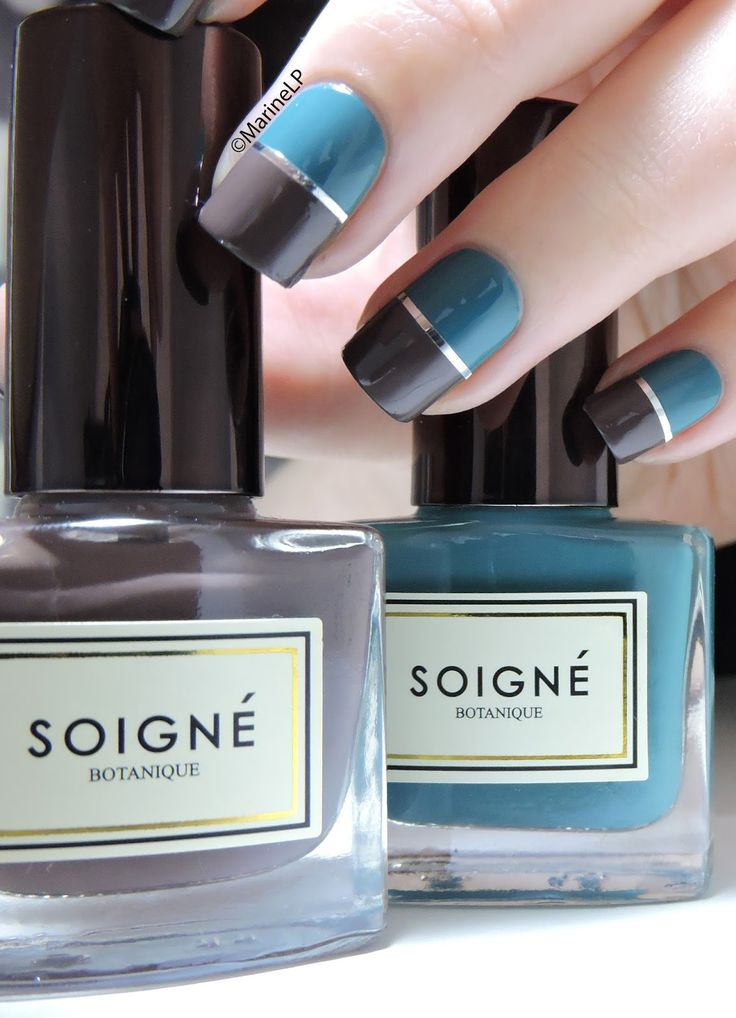 Simple graphic nails with Soigné - silver striping tape - nails - nailart