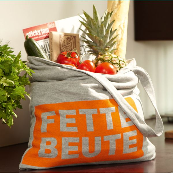 Einkaufstasche Fette Beute in grau-orange - witziger Einkaufsbeutel aus Jerseystoff