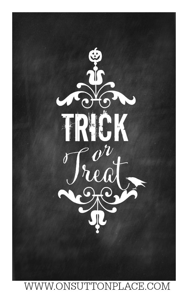 Trick or Treat Free Chalkboard Printable | Ready for instant download!