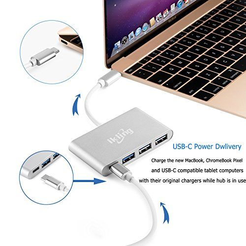 USB C Hub Aluminum Adapter - ikling ik1611S (2017 New Design) Ultra Slim Portable USB C to USB A USB C Power Adapter for MacBook, MacBook Pro 2016, Lenovo, Asus, Google Pixel, USB Type C Device Owner