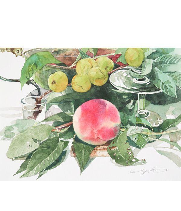 柘植彩子 水彩画 桃と花桃