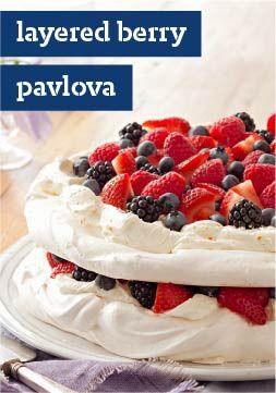 Layered Berry Pavlova – Layers of sweetened cream cheese and mixed ...