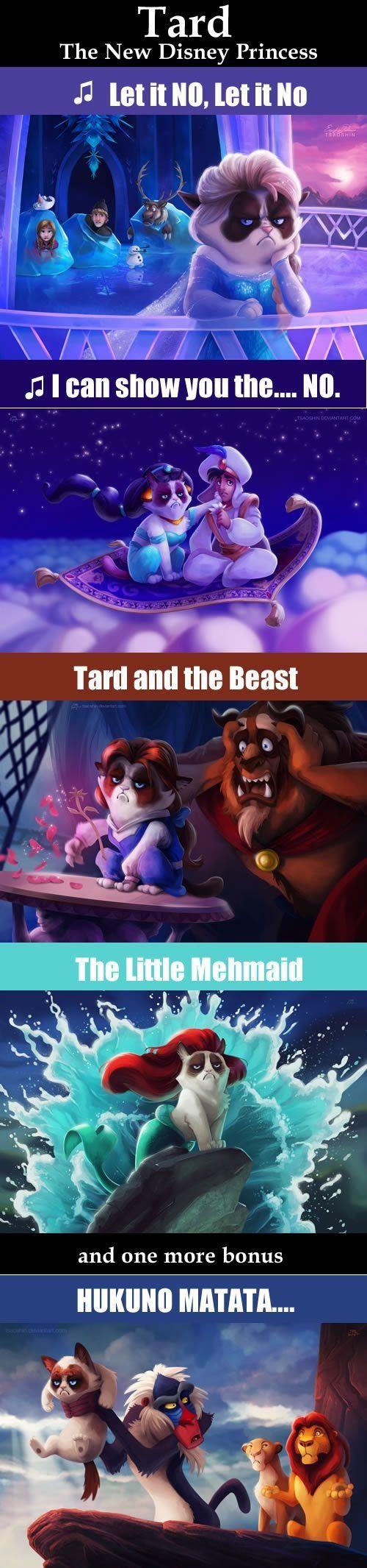 Grumpy cat as certain Disney characters