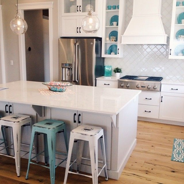 Instagram media by fourchairsfurniture - Perfectly white kitchen by @cadencehomes counter stools, accessories and design by @fourchairsfurniture