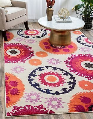 Modern Soft Bright Design Area Rug Large Round Multi Color