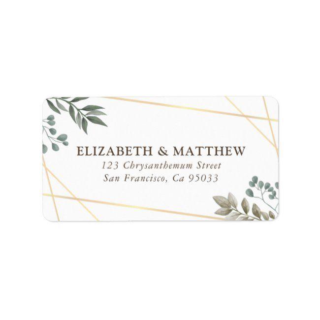Rustic Watercolor Foliage Wedding Address Label Zazzle Com In 2020 Wedding Address Labels Foliage Wedding Wedding Address