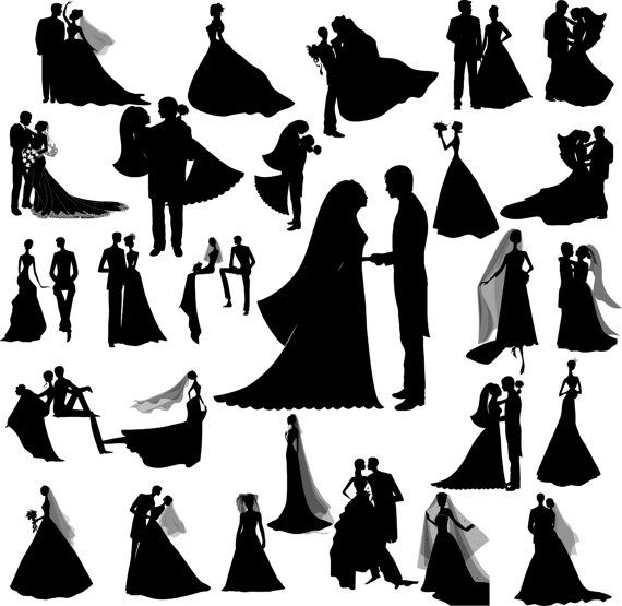 Wedding silhouette digital clipart, 27 PNG, 27 JPG, Instant download,