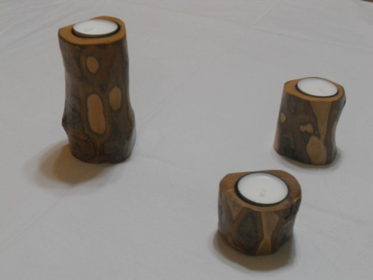 Candle holder from olive wood