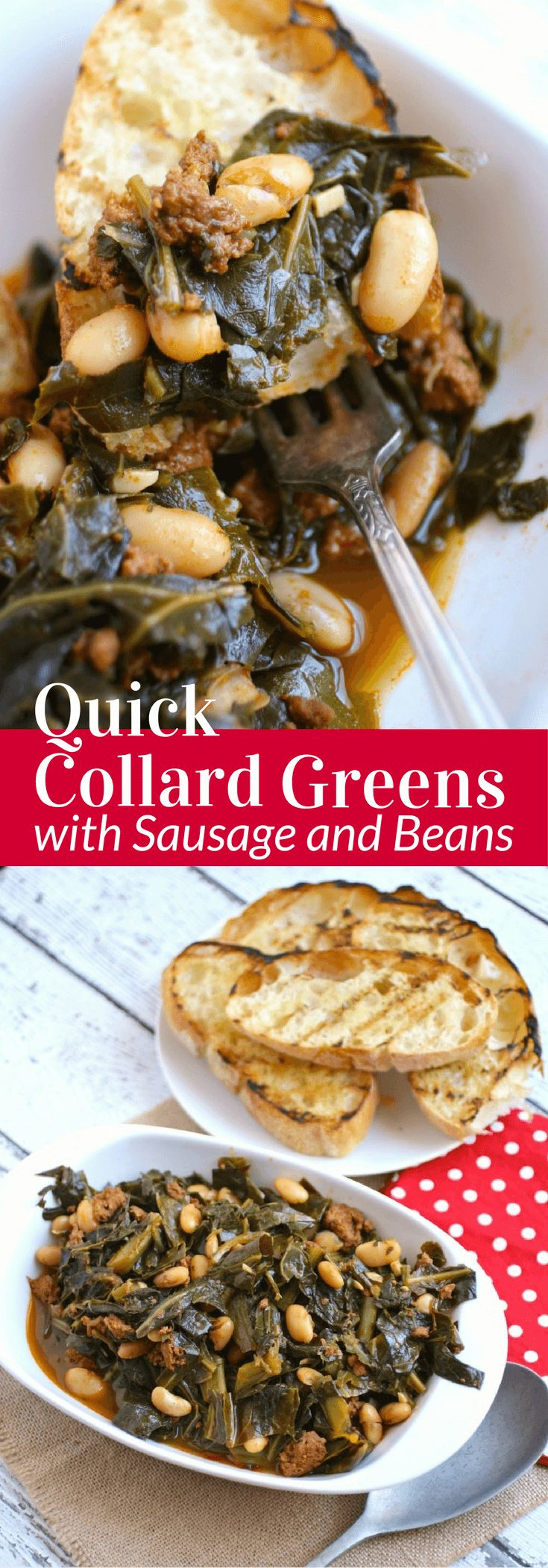 What will you be eating on New Year's Day? My family, as well as my husband's, has always included greens of some sort on the menu. This recipe for Quick Collard Greens with Sausage and Beans is a relatively new tradition in my home, and we love it!