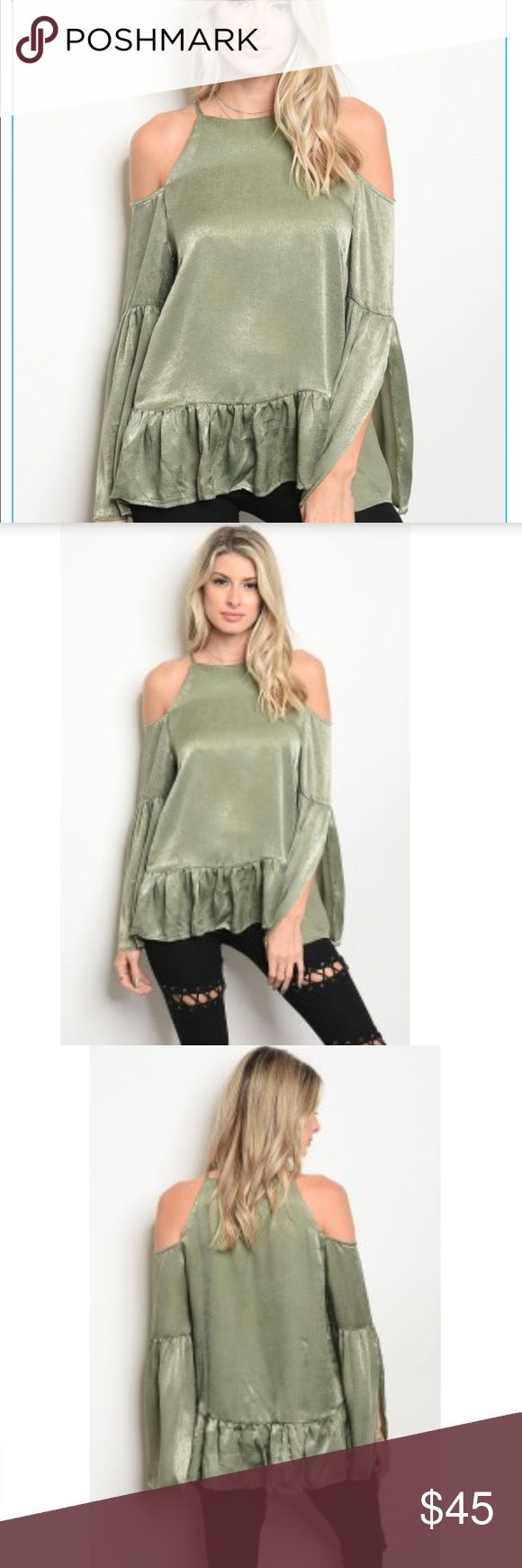 Sage Open Shoulder Peplum Top Gorgeous this season... beautiful open with peplum hem. Dress it up with beautiful pants or down with jeans or leggings!! Wear with boots or booties!! Sizes Small Medium Large/ Arriving this week Available for preorder sales. HipFinds Tops Blouses