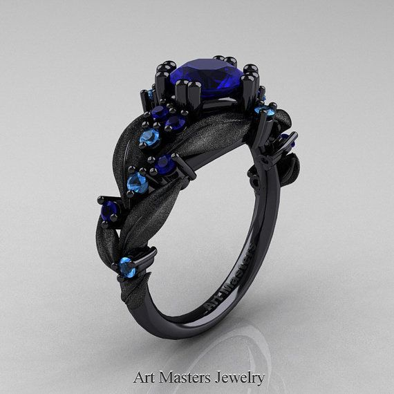 Nature Classic 14K Black Gold 1.0 Ct Blue Sapphire Blue Topaz Leaf and Vine Engagement Ring R340S-14KBGBTBS
