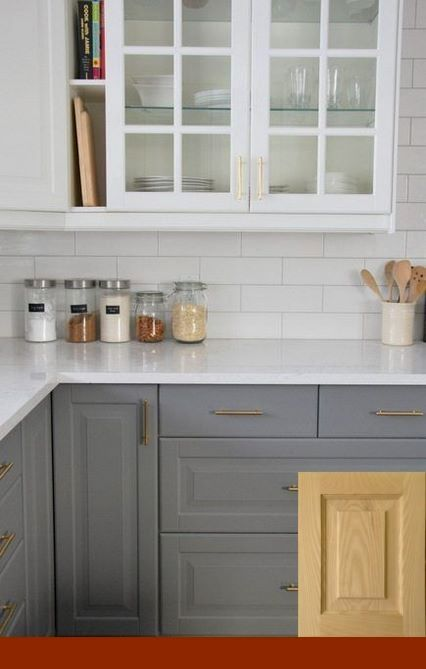 Antique White Cabinets With Oak Trim | Kitchen design ...