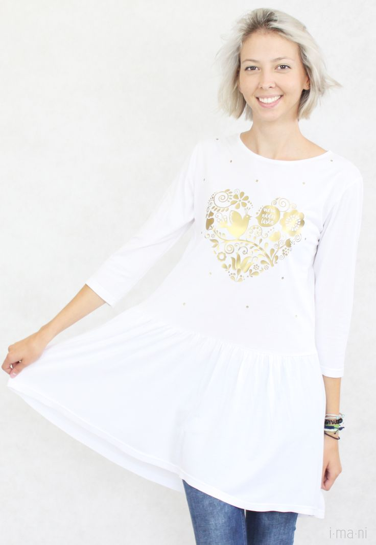 Ladies Tshirt White Bamboo with FolkArt Heart with Text Faith Hope Love by www.imani.sk