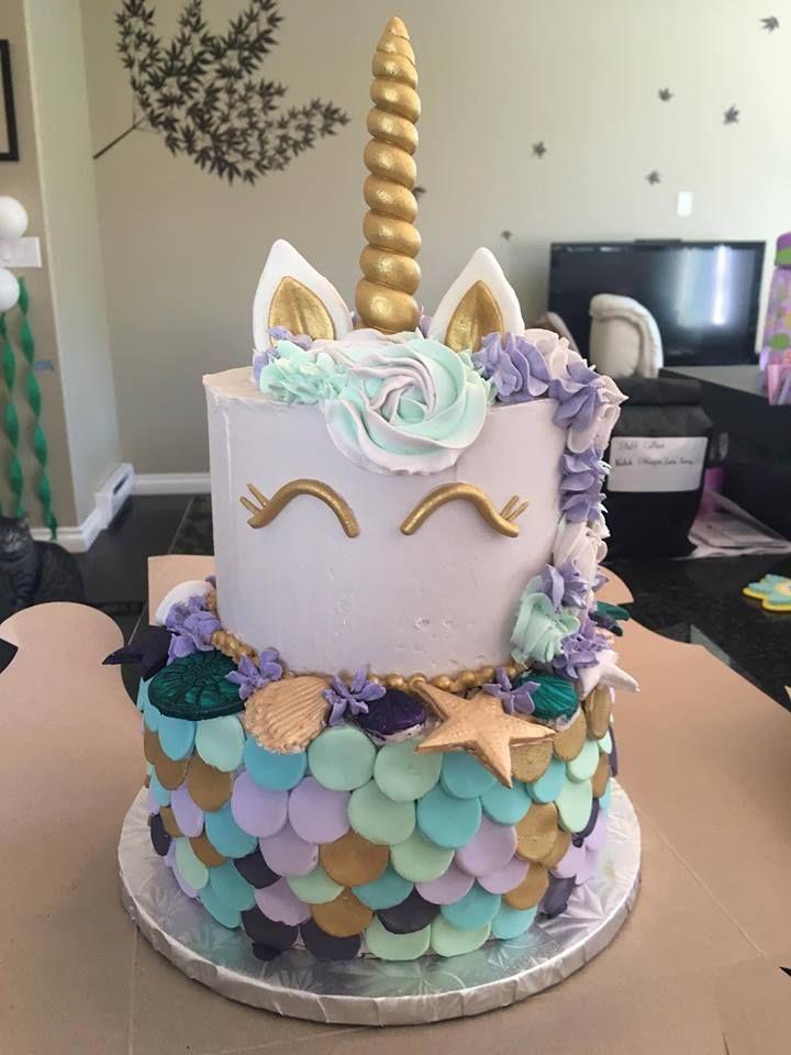 Mermaid Unicorn Cake Themed Birthday Party 4th Cakes Rainbow