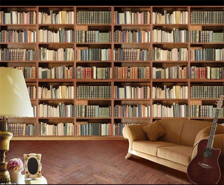 Goedkope 3d kamer behang aangepaste foto muurschildering non woven muursticker Literatuur en kunst boek plank schilderen kamer behang voor muur 3d, koop Kwaliteit wallpapers rechtstreeks van Leveranciers van China: