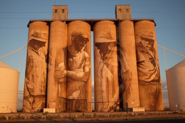 Brim silos featuring artwork by Brisbane artist Guido van Helten