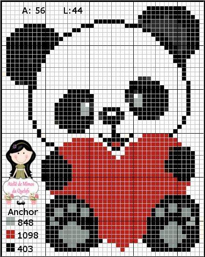 Ateliê de Mimos da Quelsfs: Gráfico ursinho panda - Ponto Cruz
