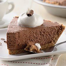 Chocolate Icebox Pie - Graham cracker crust and a simple chocolate cream filling.
