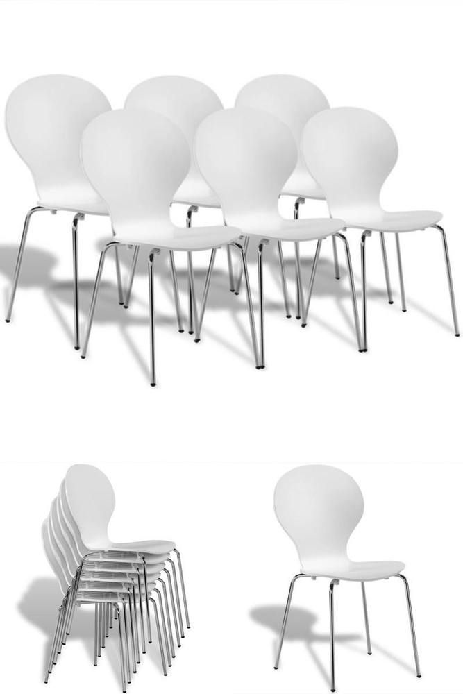 White Dining Chairs Set 6 Stackable Wood Metal Bar Restaurant Home School Seats