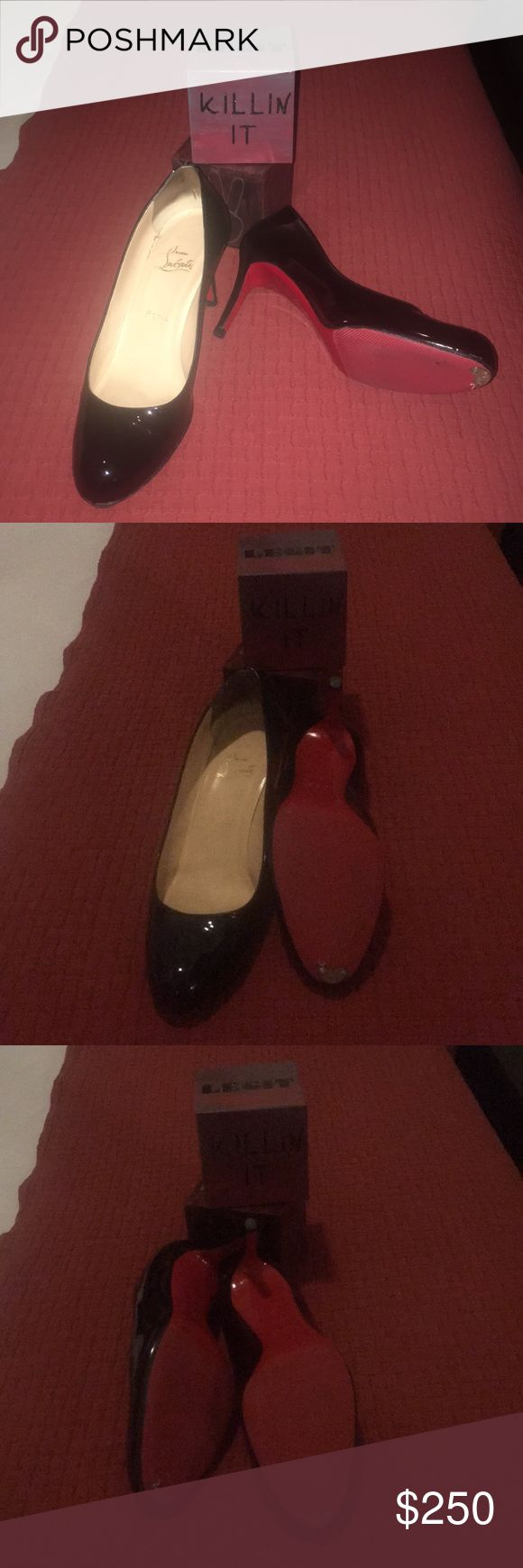 Christian Louboutin shoes Very good- sole protector and taps in place. 3 inch heel. Patent leather Christian Louboutin Shoes Heels