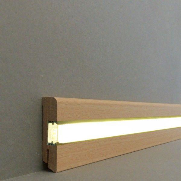 """Licht - Fußleisten / Licht - Sockelleisten """"Ulm"""" (MDF foliert / 716.703L) - Buche - LED - Fußleisten und LED - Treppenkanten - LICHT"""