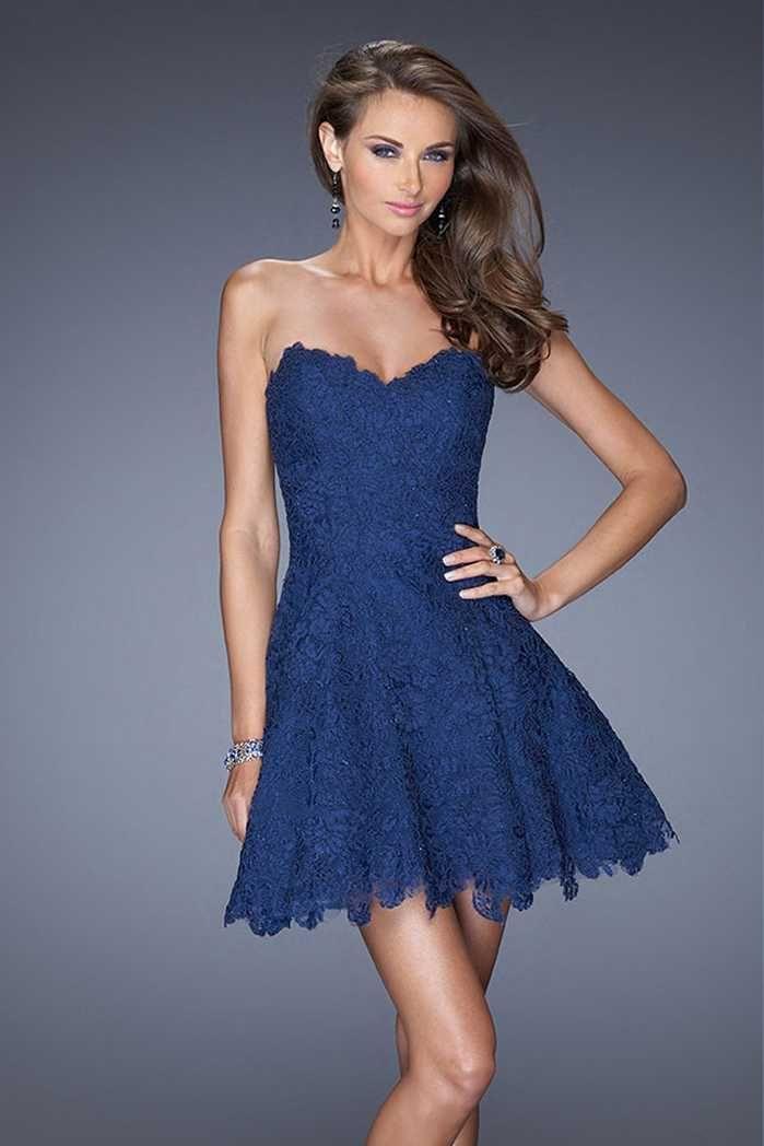 2015 Stunning Black A-line Short La Femme 19160 Lace Homecoming Dresses